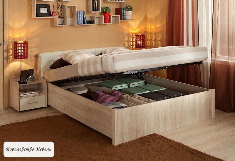 Кровать BERLIN, с подъемным механизмом (дуб сонома)