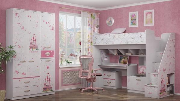 Кровать с лестницей Принцесса 18 (80*190)