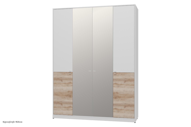 Шкаф для одежды и белья Scandica Vendela 11 ( Белый гладкий шёлк / Дуб Сакраменто)