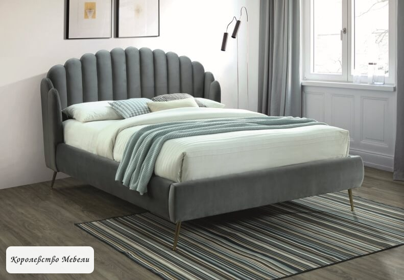 Кровать CALABRIA Velvet (серый) (160*200) c основанием