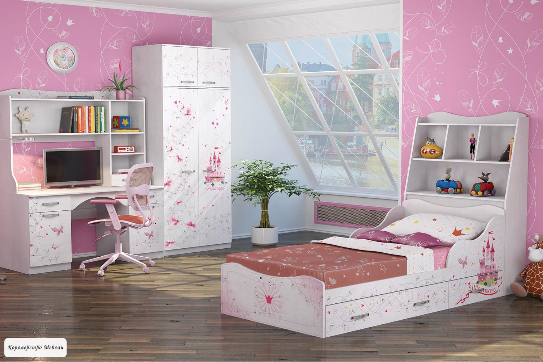 Кровать Принцесса 5 (90*190) с ящиками, с основанием