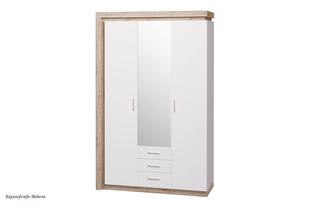 Шкаф для одежды с ящиками 3-х дв. с зеркалом Люмен 15 (Дуб Сакраменто / Белый снег)