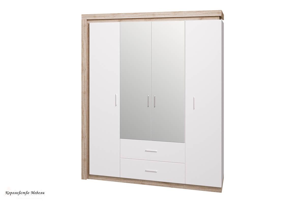 Шкаф для одежды с ящиками 4-х дв. с зеркалом Люмен 16 (Дуб Сакраменто / Белый снег)