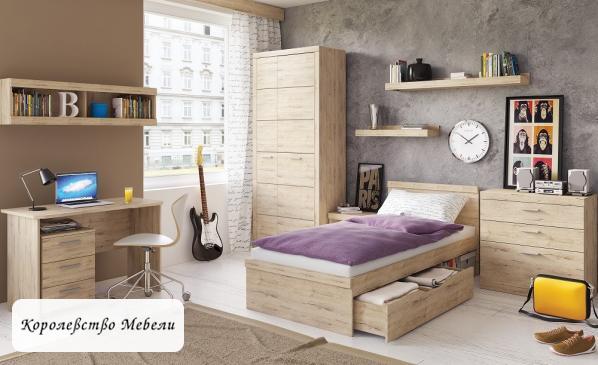 Кровать Oskar (90*200) с ящиком (дуб санремо)