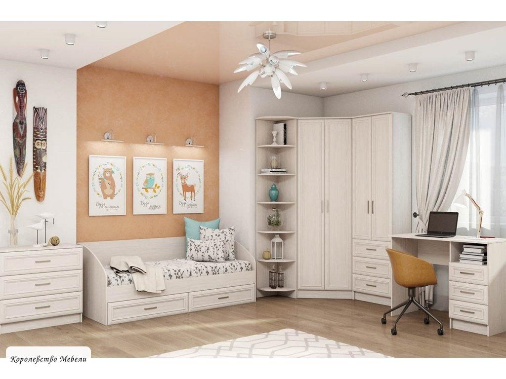 Кровать Принцесса (80*200) с ящиками (анкор белый)