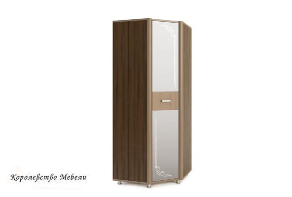 Оливия 15 шкаф угловой с зеркалом Дезира тёмный/мокко