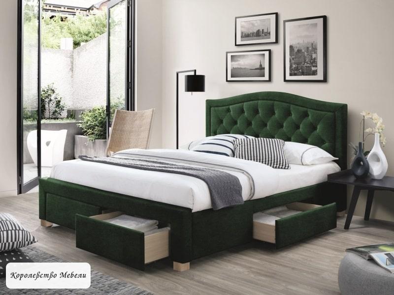 Кровать  ELECTRA VELVET (160*200) (зеленый) ,с ящиками