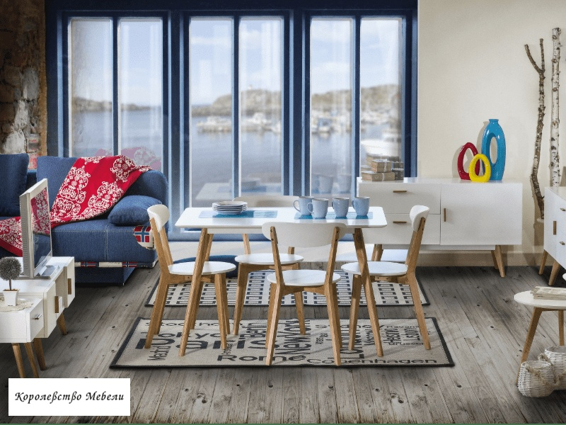 Стол MILAN (140x80) (белый / дуб)