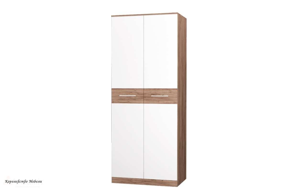 Шкаф для  одежды Невада (дуб крафт табак / белый)