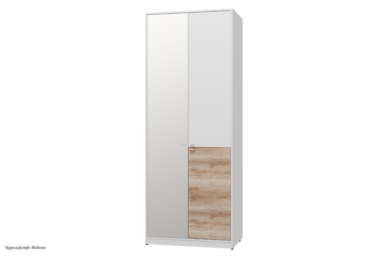 Шкаф для одежды и белья Scandica Vendela 9 ( Белый гладкий шёлк / Дуб Сакраменто)