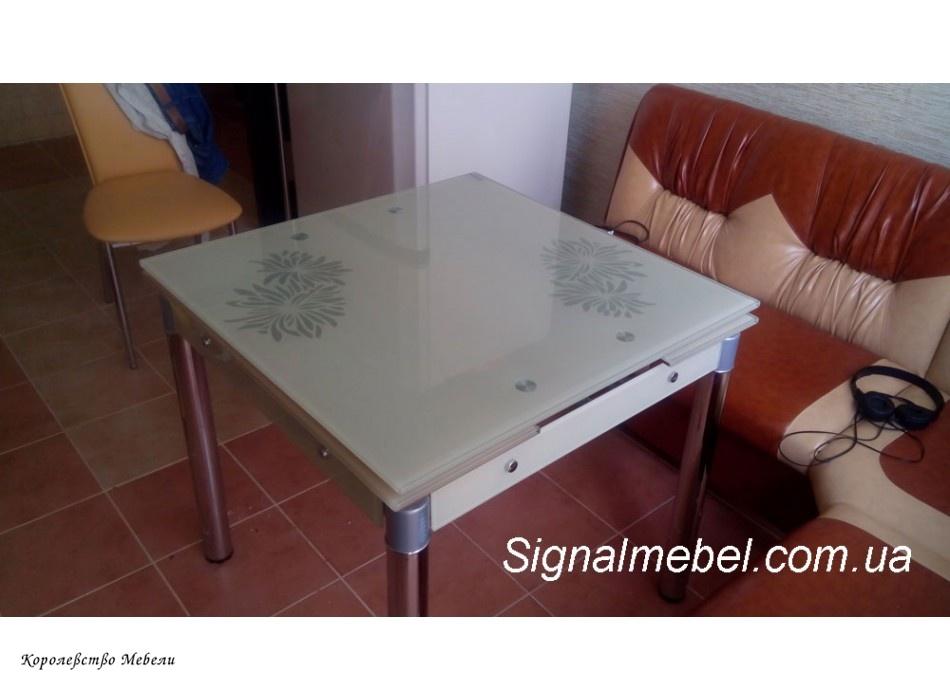Стол раздвижной  GD-082 (80--130), крем/ хром