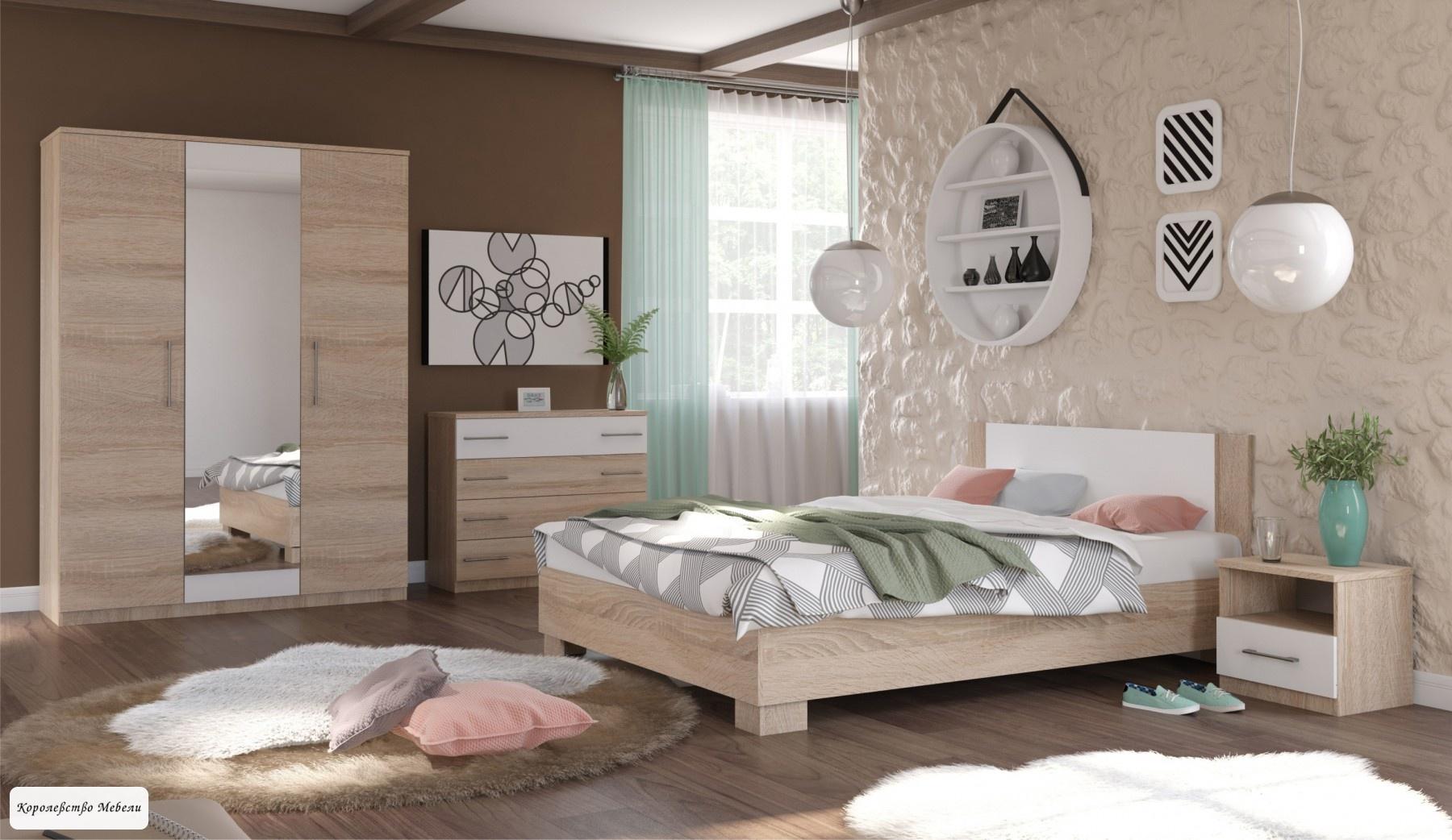 Кровать Аврора, с основанием (дуб сонома/белый)