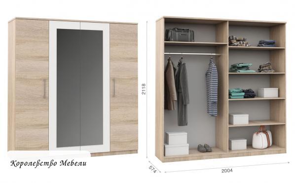 Шкаф для одежды и белья 4-х дв. Аврора