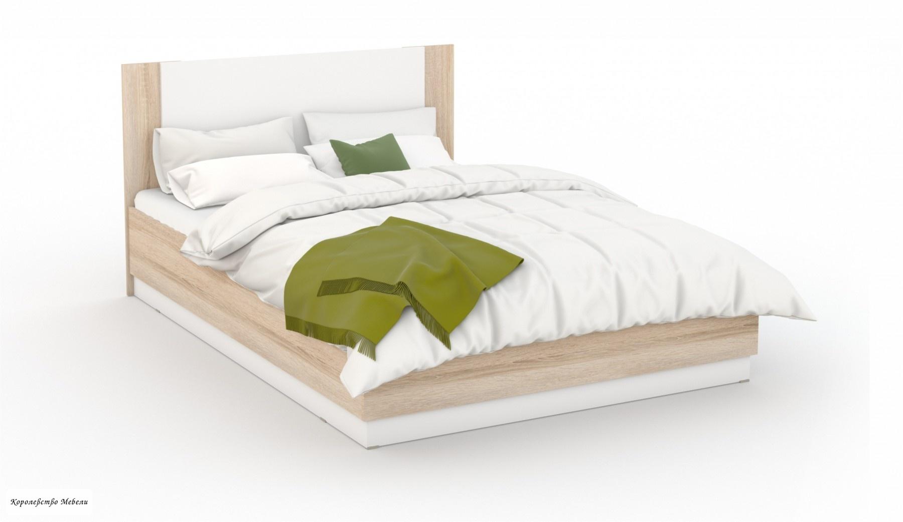 Кровать Аврора (160*200), с подъемным механизмом (дуб сонома/белый)