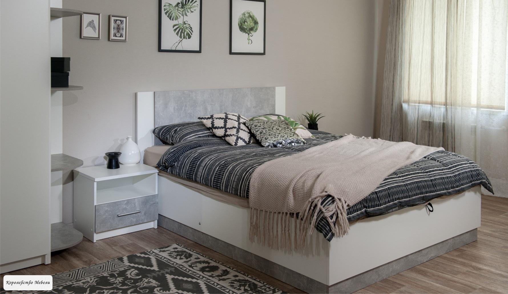 Кровать Аврора (160*200) с подъемным механизмом (ателье светлый / белый)