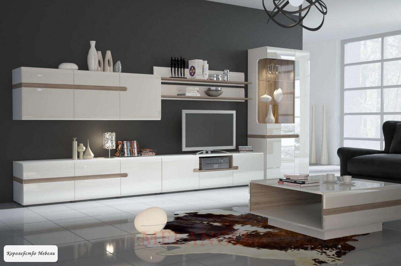 Гостиная Линате -3 (белый глянец /сонома трюфель)