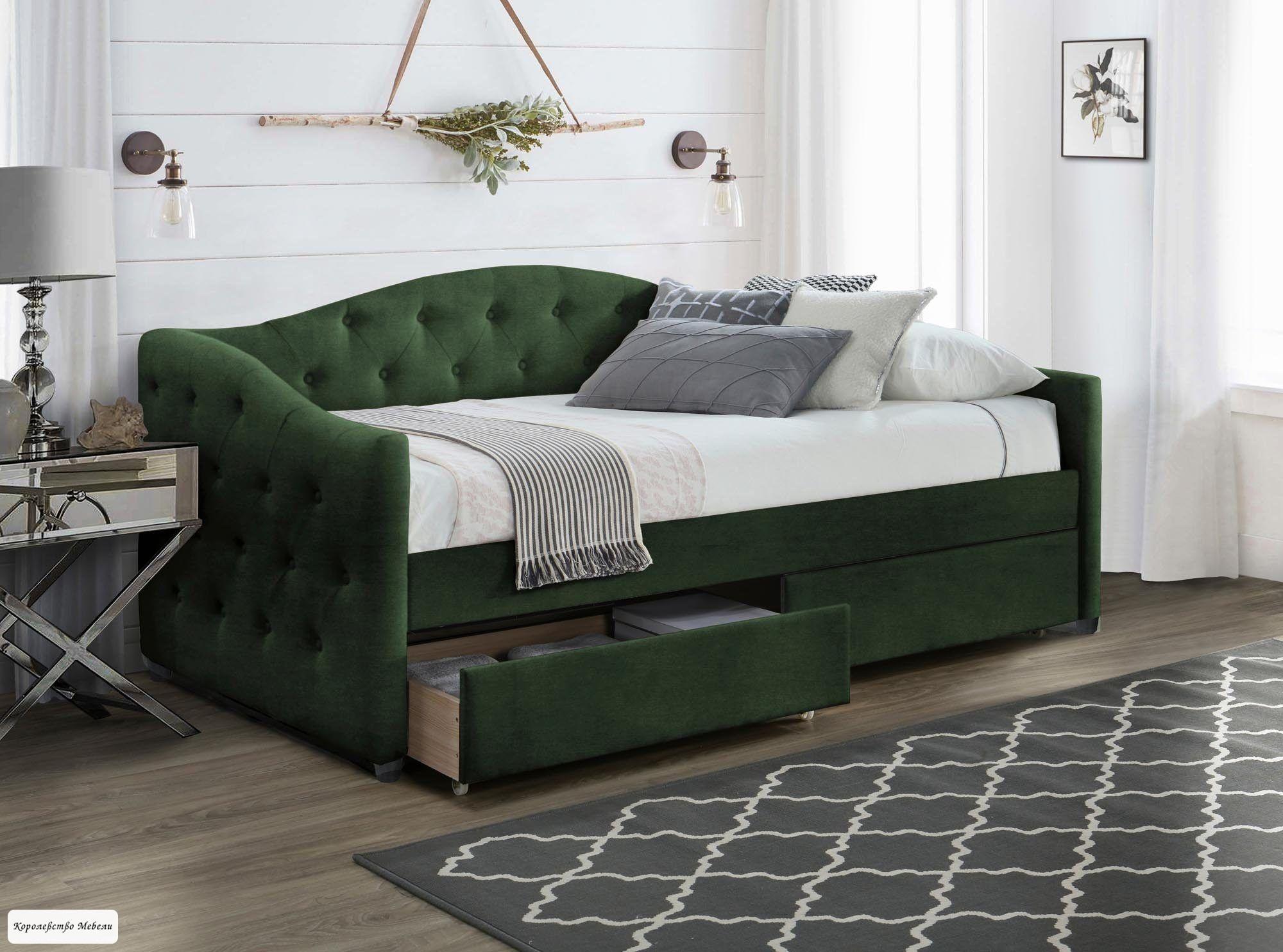 Кровать  ALOHA (т.зеленый) (90*200) с ящиками