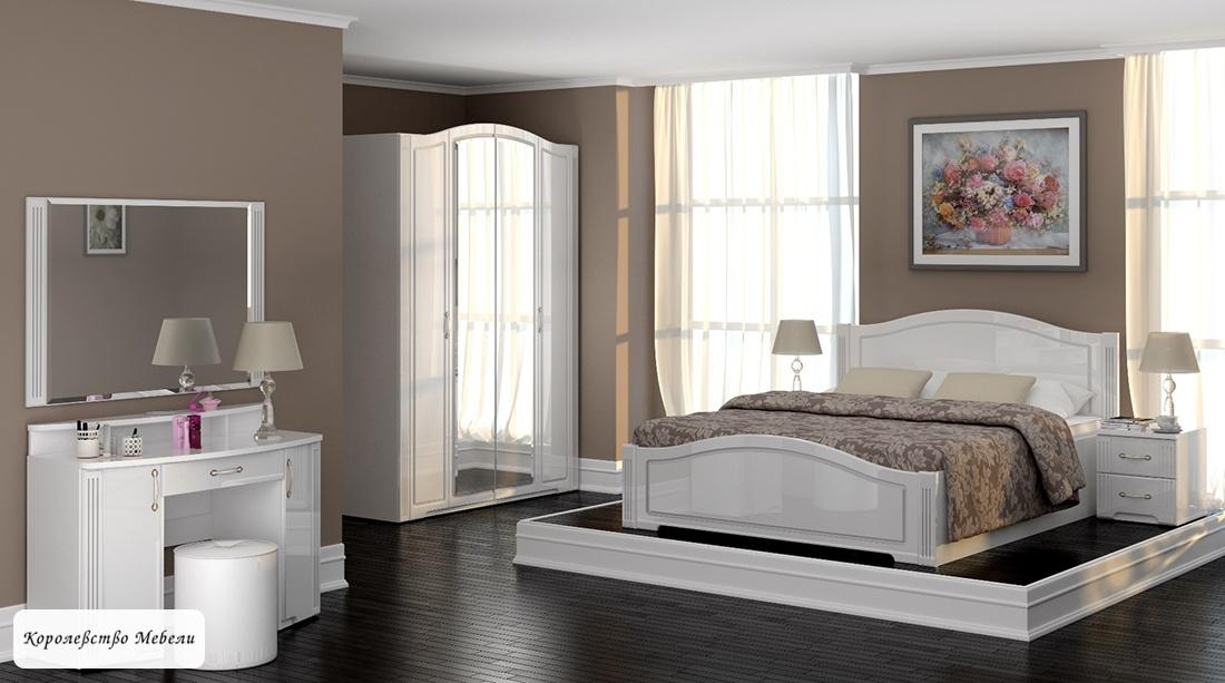 Кровать Виктория (160*200) с подъёмным механизмом (белый глянец)
