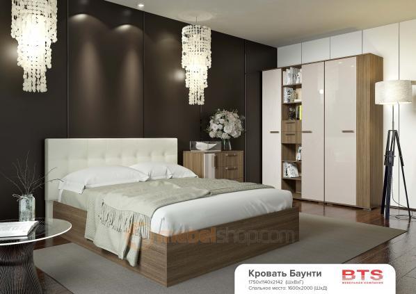 Кровать Баунти (160*200) с мягким изголовьем,с основанием