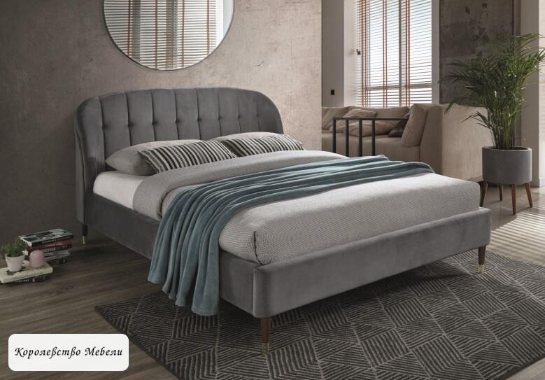 Кровать LIGURIA VELVET серый (160*200) ,с основанием