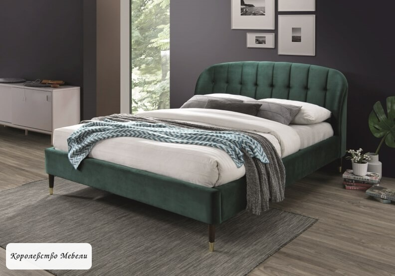 Кровать LIGURIA VELVET зеленый (160*200) ,с основанием