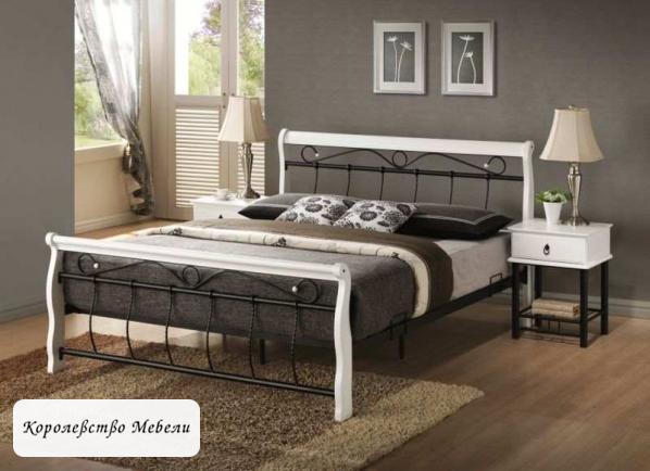 Кровать VENECJA (160*200),бело-черная ,с основанием (Signal)