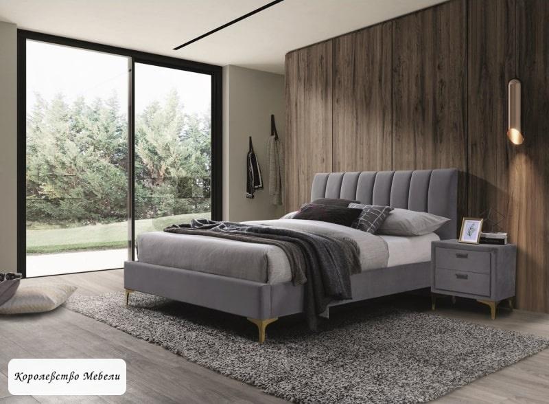 Кровать Mirage Velvet (160*200) (серый)