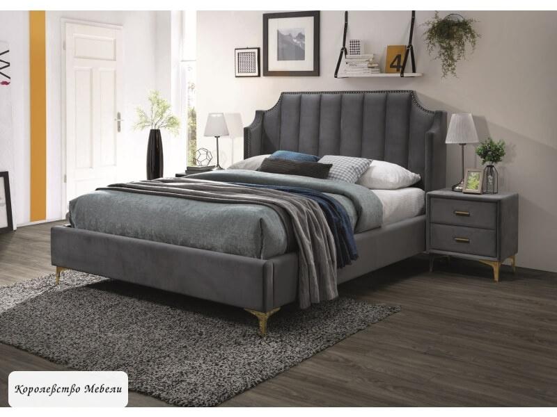 Кровать MONAKO Velvet (серый) (160*200), с основанием