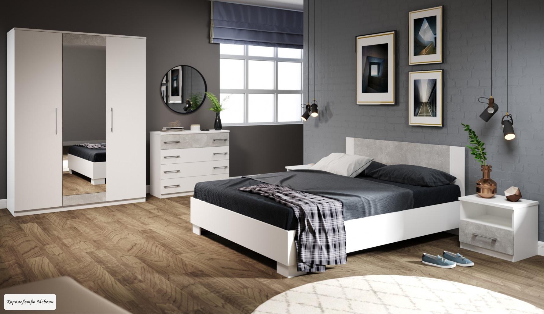 Кровать Аврора, с основанием (ателье светлый / белый)
