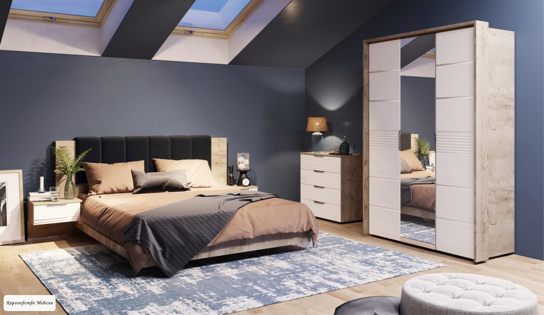 Кровать Джулия (160*200) с подъемным механизмом (дуб крафт серый)