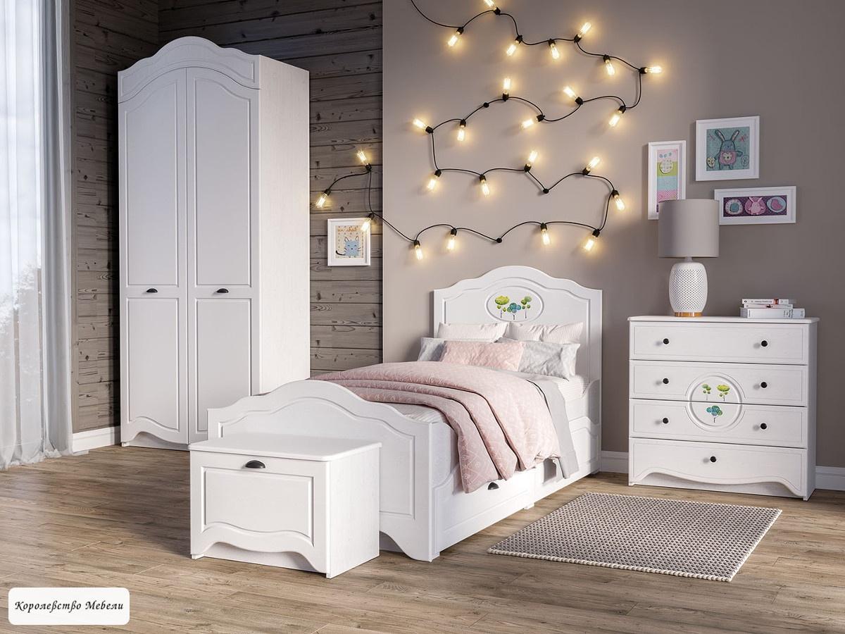 Кровать Роуз (90*200) с ящиками (ясень ваниль / белый)