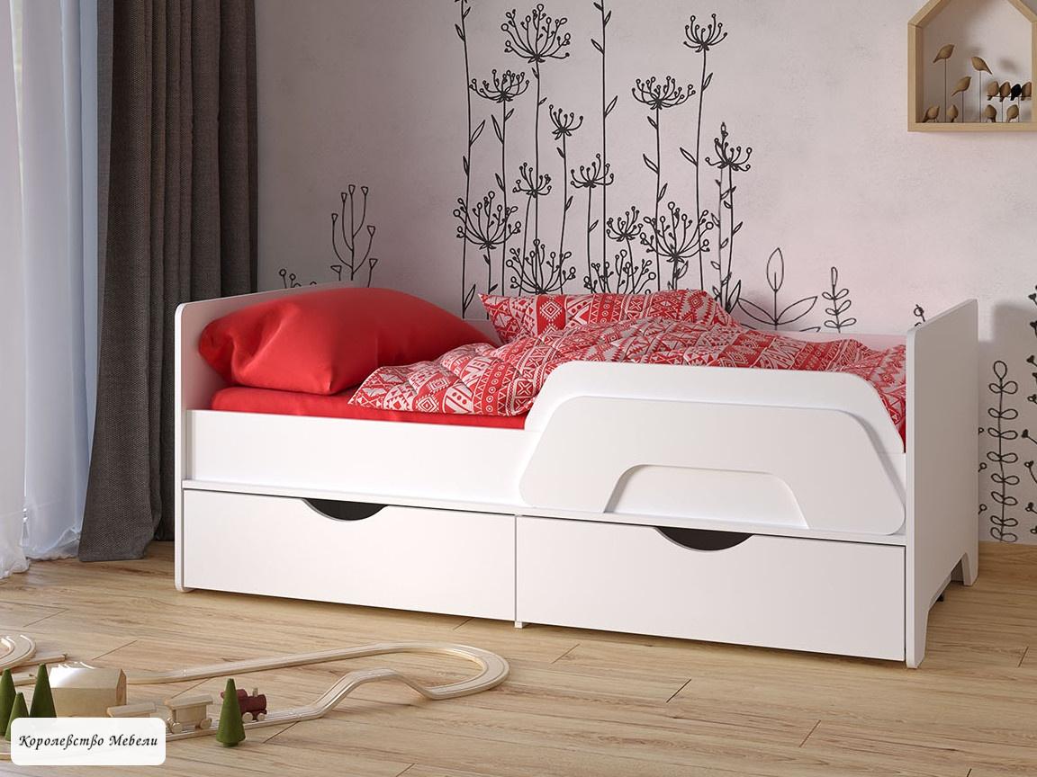 Кровать Уна (80*160) со съемным бортиком, с ящиками