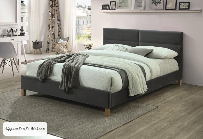 Кровать  SIERRA VELVET (серый) (160*200), с основанием
