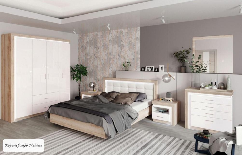 Кровать  Люмен 12 (160*200), без основания (Дуб Сакраменто / Белый снег)