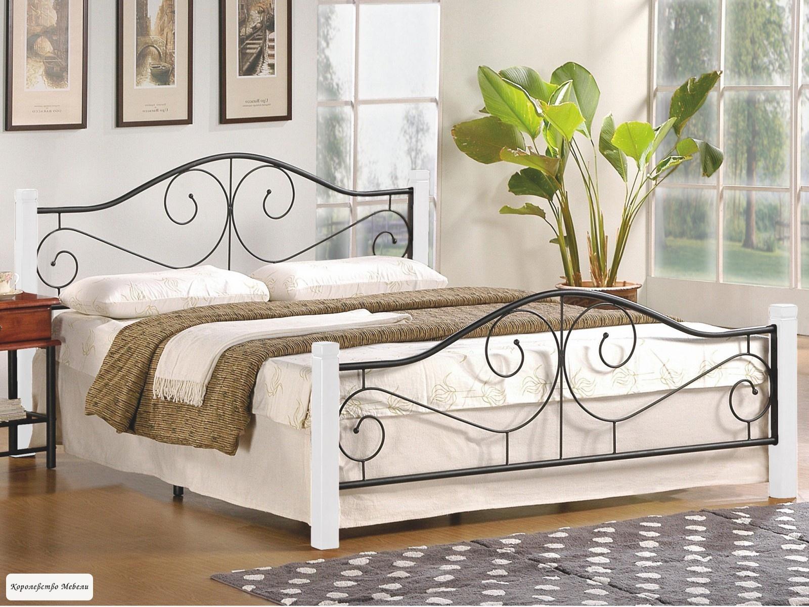 Кровать Violetta (160*200) c основанием (черно-белый)